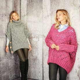 Stylecraft Sweater & Poncho Pattern Knitted in Special XL Tweed  9807