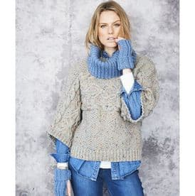 Stylecraft Sweater, Snood and Wrist Warmers Knitted in Special Aran With Wool 9663