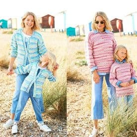 Stylecraft You & Me Ladies & Child's Cardigan and Sweater Pattern 9825