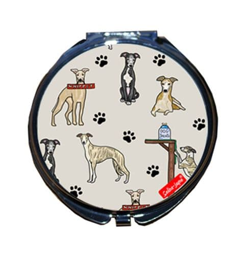 Selina-Jayne Whippet Dogs Limited Edition Designer Compact Mirror