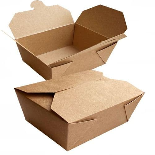 """No8 Large Compostable Disposable Take Away Food Boxes (8x6"""")"""