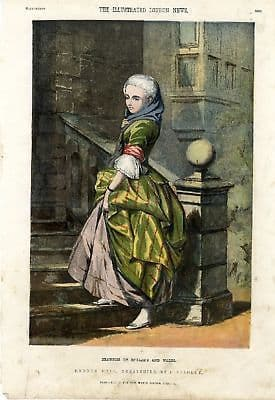 1856 Antique Print LADY at HADDON HALL DERBYSHIRE Victorian Engraving FASHION