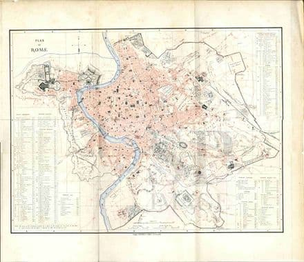 1872 Large Antique Map PLAN OF ROME Vatican PALACES Hotels STREETS Monuments Large Detailed