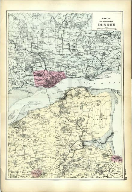 1891 Antique Map ENVIRONS DUNDEE Scotland HOUSES Farms RAILWAYS Stations PIERS