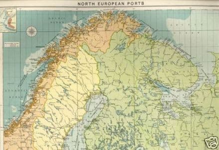 1914 MAP North Europe Ports MERCANTILE MARINE Norway SWEDEN Bothnia etc LARGE