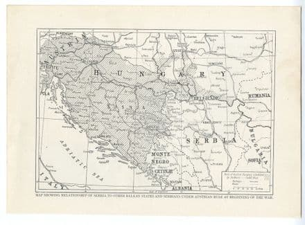 1914 WW1 MAP Balkan States HUNGARY Serbia BOSNIA Under Austrian Rule (1)
