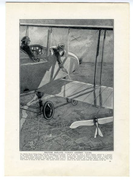 1914 WW1 PRINT British Biplane AIRMEN RFC German Taube AIR BATTLE (335)