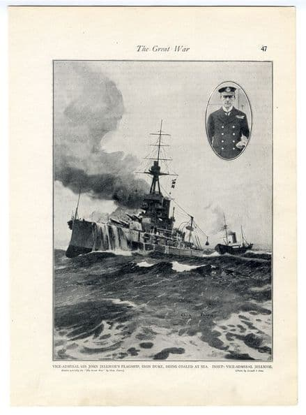 1914 WW1 Print HMS IRON DUKE BEING COALED AT SEA Sir John Jellicoe FLAGSHIP (47)