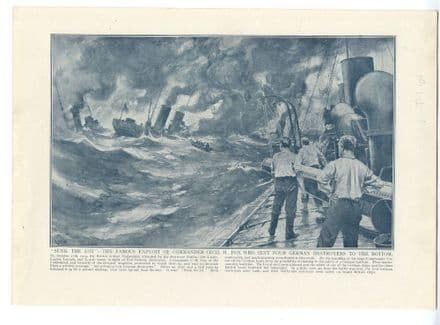 1914 WW1 PRINT HMS UNDAUNTED Cecil Fox BATTLE OF TEXEL Lord Fisher of Kilverstone (xx)