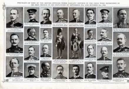 1914 WW1 Print OFFICERS PORTRAITS Mentioned in Despatches HEADLAM Glubb etc (349) SOLD