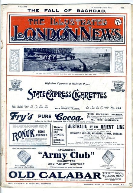 1917 ILLUSTRATED LONDON NEWS WW1 Newspaper BAGHDAD Gommcourt SMS MOWE Ship (5604)