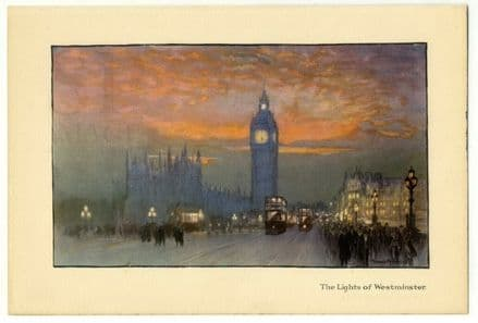 1926 Westminster Bridge LONDON Vintage Print NIGHT SCENE Big Ben; Trams; Crowds
