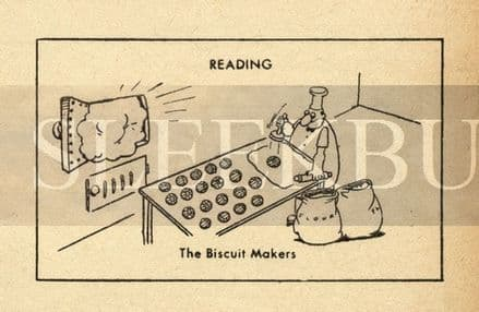 VINTAGE Football Print READING - THE BISCUIT MAKERS Funny Cartoon