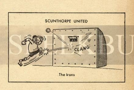 VINTAGE Football Print SCUNTHORPE UNITED - THE IRONS Funny Cartoon