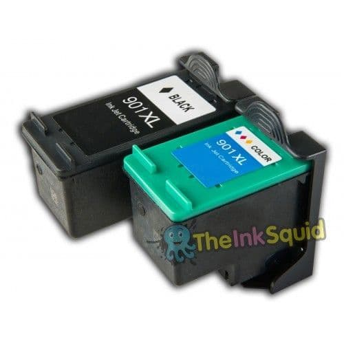 1 Set (2 inks) of Compatible HP 901 XL Ink Cartridges (CC654AE CC656AE) for HP Photosmart Printers