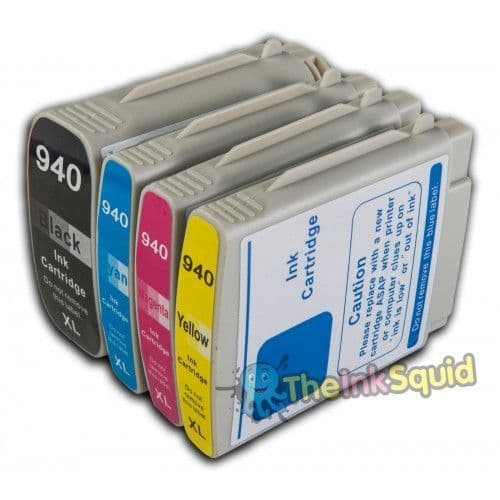 1 Set (4 inks) of HP 940 XL Chipped Compatible Ink Cartridges for Photosmart Printers