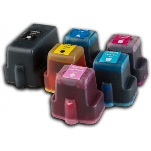 1 set (6 Inks) of HP 363 XL Chipped High-Capacity Compatible Ink Cartridges for HP Photosmart