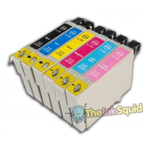 1 Set of T0791-6 Chipped Compatible Owl Ink Cartridges for Epson Stylus Photo