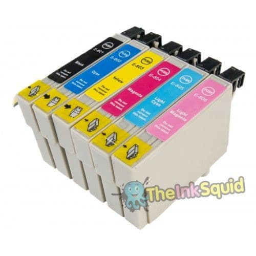 1 Set of T0801-6 Compatible Hummingbird Ink Cartridges for Epson Stylus Photo