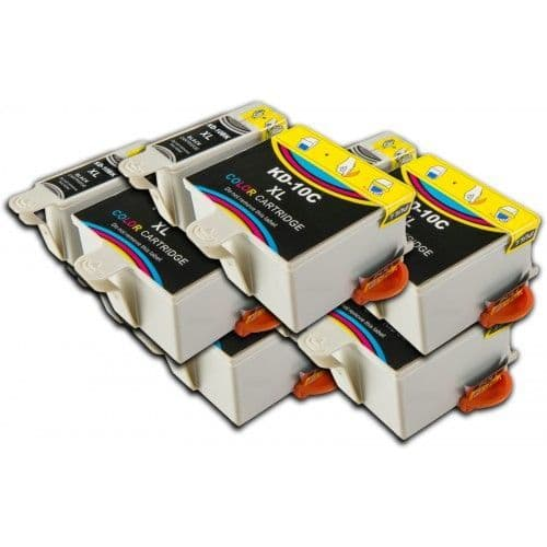 10 Chipped High-Capacity Compatible Kodak 10 Easyshare K10BK / K10C Ink Cartridges