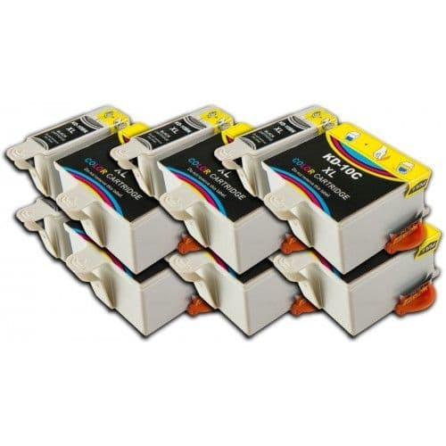 12 Chipped High-Capacity Compatible Kodak 10 Easyshare K10BK / K10C Ink Cartridges