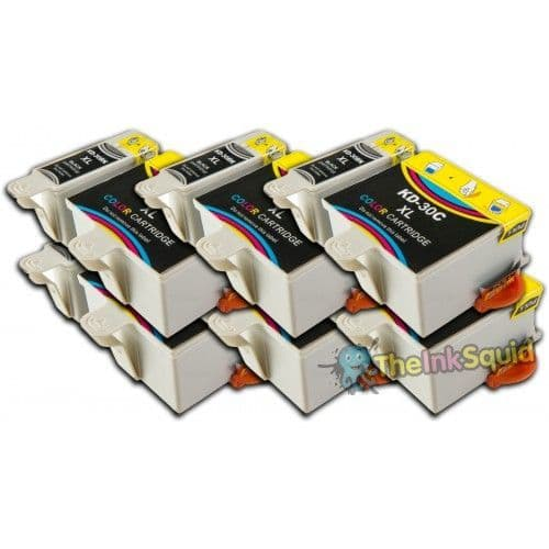 12 Chipped High-Capacity Compatible Kodak 30 (K30BK/K30C) Ink Cartridges
