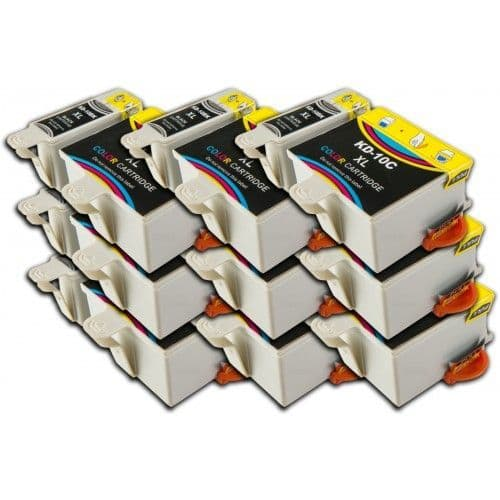 18 Chipped High-Capacity Compatible Kodak 10 Easyshare K10BK / K10C Ink Cartridges