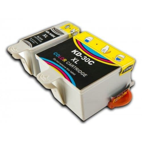 2 Chipped High-Capacity Compatible Kodak 30 Easyshare K30BK / K30C Ink Cartridges