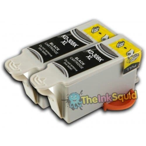 2 Chipped High-Capacity K30BK Compatible Kodak 30 Easyshare Black Ink Cartridges