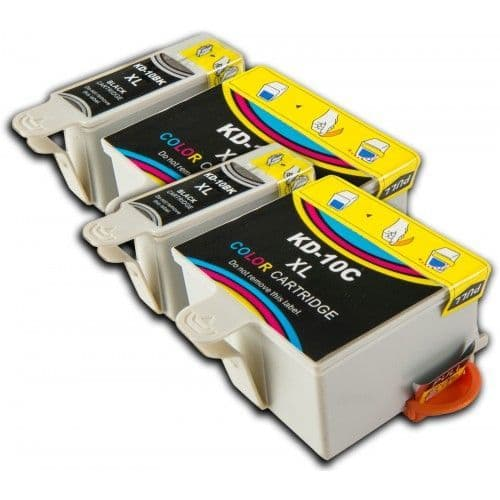 4 Chipped High-Capacity Compatible Kodak 10 Easyshare K10BK / K10C Ink Cartridge