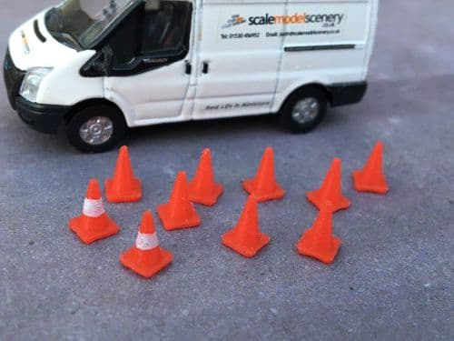 AX043-OO 3D Printed Road Cones Small (Pack of 10) OO/4mm/1:76