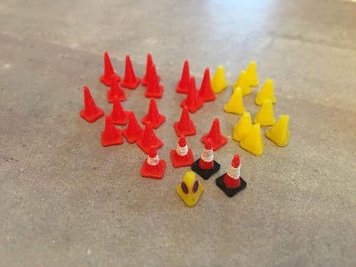 AX046-OO 3D Printed Road Cones Bumper Pack (30) OO/4mm/1:76