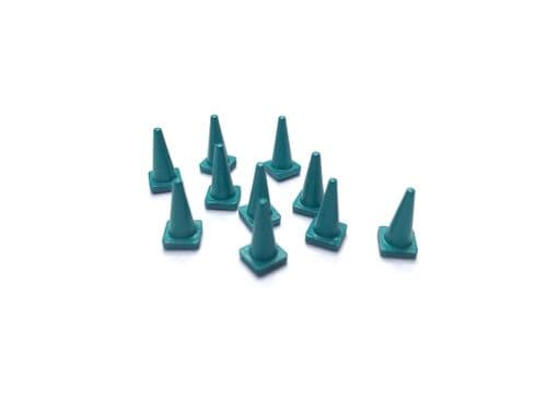 AX154-OO Green Road Cones (Pack of 10) OO/4mm/1:76