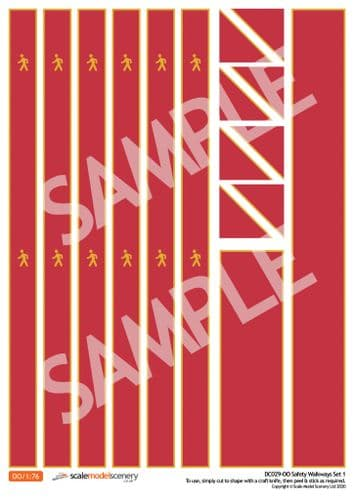 DC029-OO Self-Adhesive Walkway Decals For Depots, Factories & Warehouses (Red) - OO/4mm/1:76