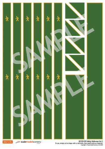 DC030-OO Self-Adhesive Walkway Decals For Depots, Factories & Warehouses (Green) - OO/4mm/1:76