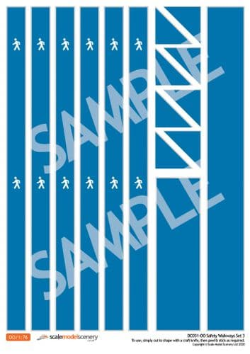 DC031-OO Self-Adhesive Walkway Decals For Depots, Factories & Warehouses (Blue) - OO/4mm/1:76