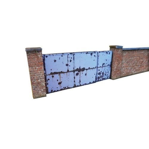 KX002-OO 6ft Industrial Brick Wall And Gates OO/4mm/1:76