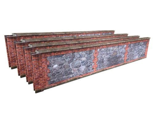 KX040-O 7ft Stone & Red Brick Wall O/7mm/1:43