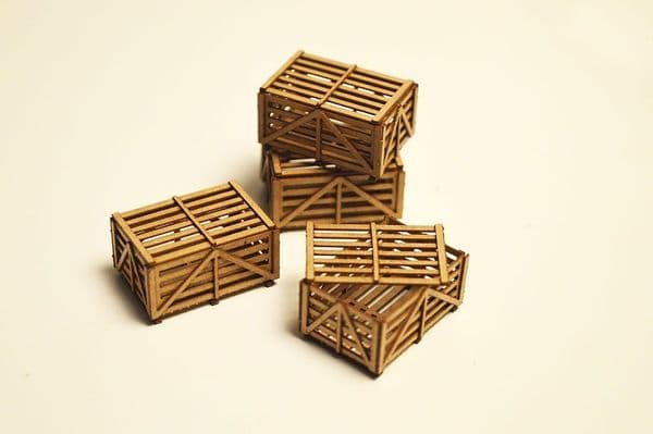 LX063-O Laser Cut Small Slatted Wooden Shipping Crates O/7mm/1:43