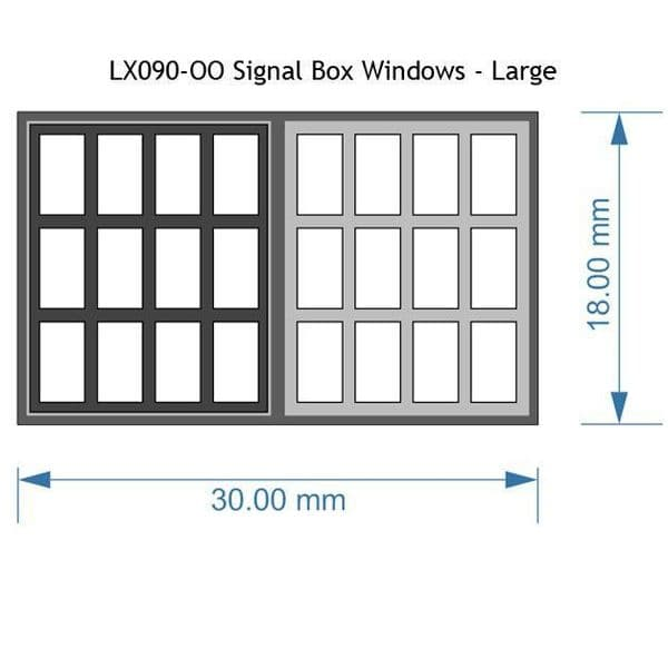 LX090-OO Signal Box Windows Large (Pack of 6) OO/4mm/1:76