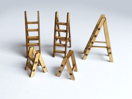 LX109-OO Wooden Step Ladders (Pack of 12) OO/4mm/1:76