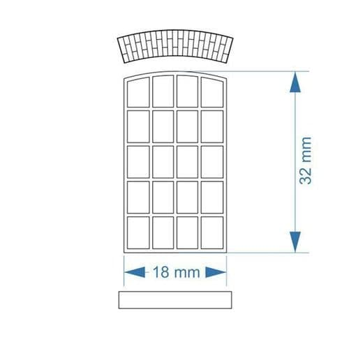 LX125-OO Arched Top Industrial Windows 18mm x 32mm (Pack of 12) OO/4mm/1:76