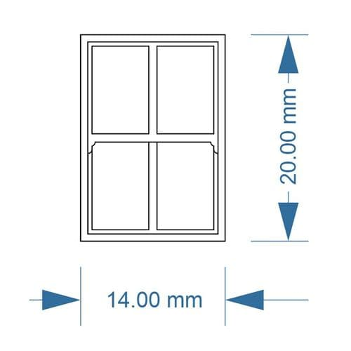 LX204-OO 4 Pane Sash Windows (Pack of 5) - OO/4mm/1:76