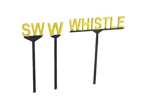LX227-OO Whistle/Sound Whistle Signs (Pack of 19) (Thicker 0.8mm Version) OO/4mm/1:76