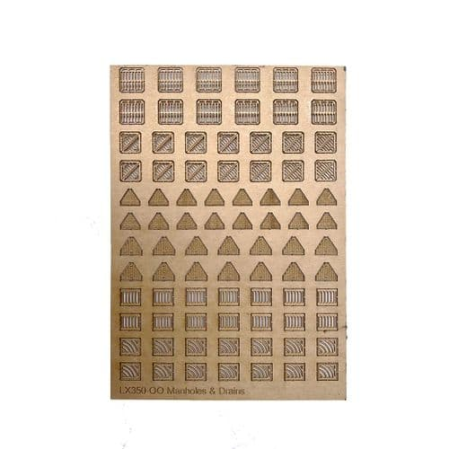 LX350-OO Manholes & Drains (Pack of 84) - OO/4mm/1:76