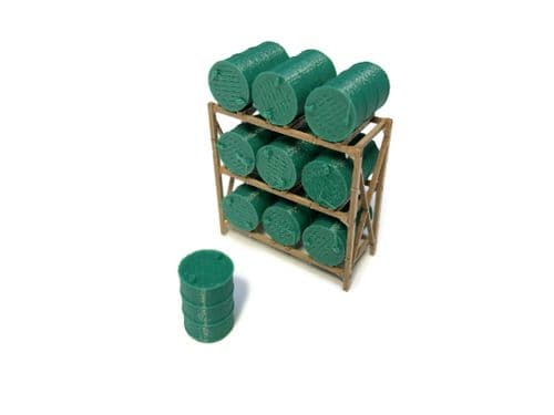 LX382-OO Laser Cut 45 Gallon Drum / Barrel Rack (Pack of 2) - OO/4mm/1:76