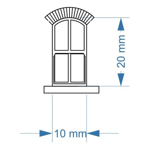 LX387-OO Arched Top 4 Pane Sash Windows (Pack of 8) - OO/4mm/1:76