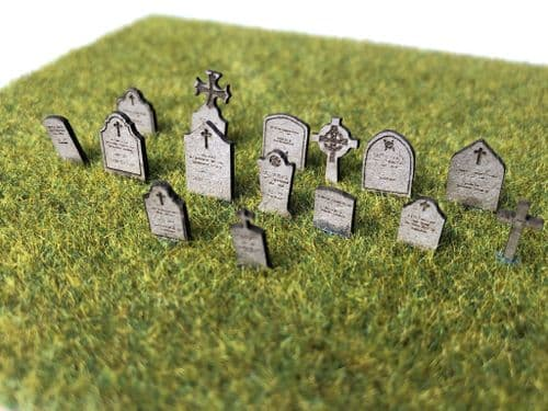 LX394-OO Laser Cut Gravestones (Pack of 58) - OO/4mm/1:76