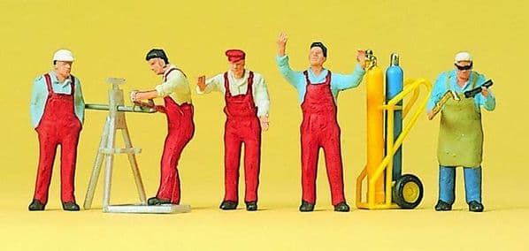 Preiser 10243 Workers with Tools & Accessories (Pack of 6) OO/HO