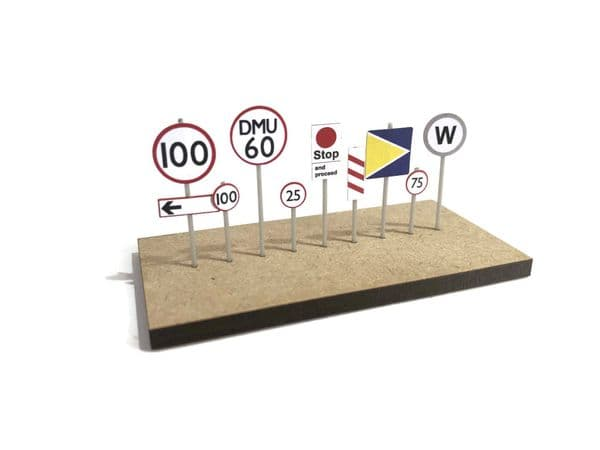 S017-N Pre-Cut Modern Lineside Signs (Speed Restriction / Stop / Clearance etc) N/2mm/1:148